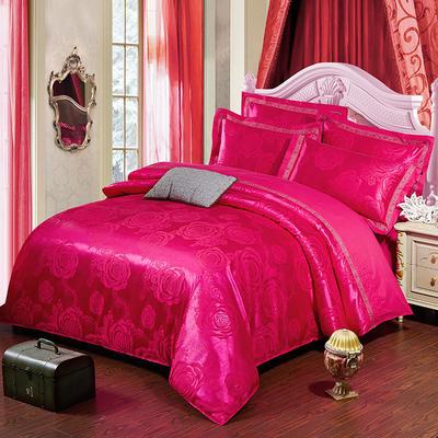 五线绣边天丝四件套 标准 1.5-1.8米床 爱的奏鸣-玫红