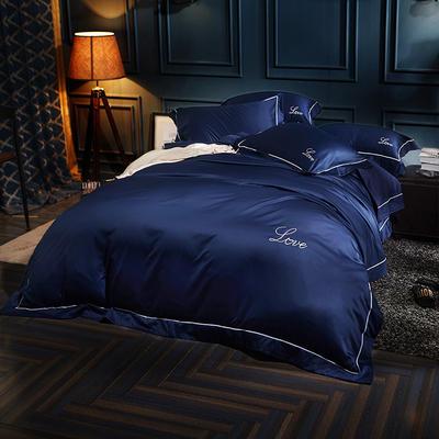 水洗真丝四件套 1.5m-1.8床(床单款) 蔚蓝