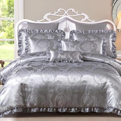 韩版提花四件套(床裙款) 1.8m(6英尺)床 13.曼珠沙华-银色