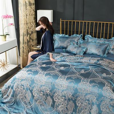 韩版提花四件套(床裙款) 1.5m(5英尺)床 20.九月湖畔-沁蓝