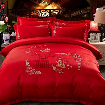 2018新款苏绣四件套 1.8m(6英尺)床 缘中缘-大红