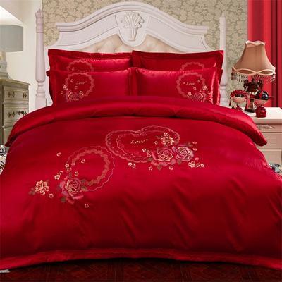 2018新款苏绣四件套 1.5m(5英尺)床 甜蜜约定-大红