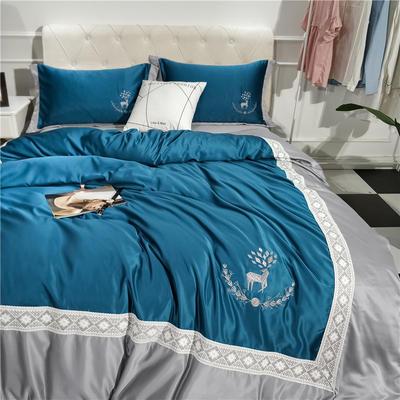2018新款水洗真丝洛丽卡 -手机实拍图四件套 1.5m床笠款 洛丽卡-银蓝色