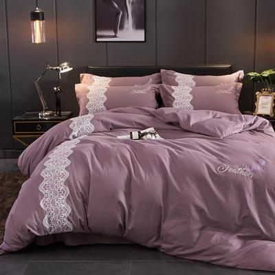 2018新款加厚全棉磨毛四件套 1.5m-1.8m床 魅力紫
