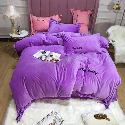 2019新款保暖水晶绒毛巾绣蝴蝶结四件套 1.8m床单款 水晶紫
