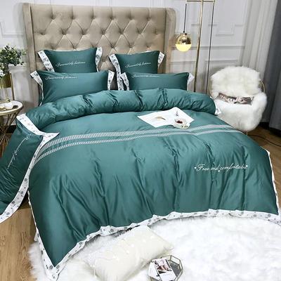 2019新款60长绒棉四件套 2.0m床单款四件套 云洛林-绿