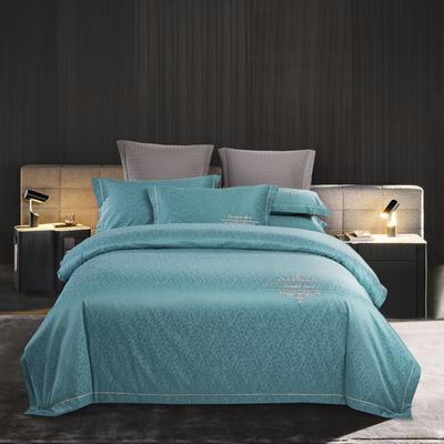 2019新款60S 13372高密全棉提花四件套 1.8m床单款四件套 琉璃蓝