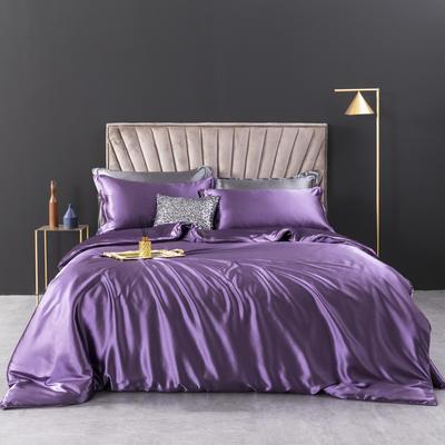 2021新款纯色水洗真丝四件套冰丝绣花四件套-浮光系列 1.8m圆角花边床单款四件套 浮光-媚紫