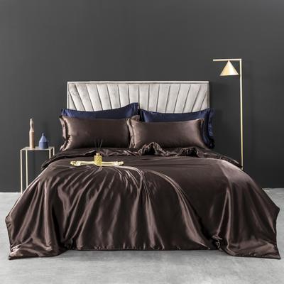 2021新款纯色水洗真丝四件套冰丝绣花四件套-浮光系列 1.8m圆角花边床单款四件套 浮光-雅棕