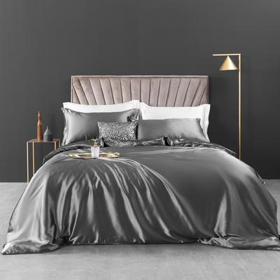 2021新款纯色水洗真丝四件套冰丝绣花四件套-浮光系列 1.8m圆角花边床单款四件套 浮光-银灰