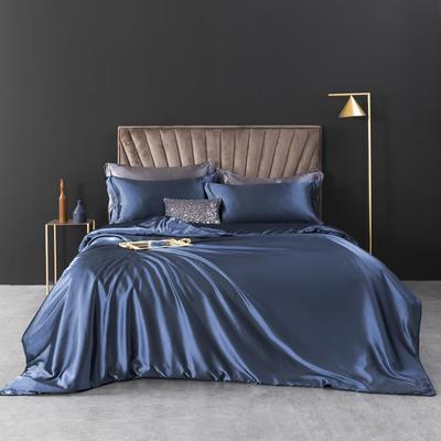 2021新款纯色水洗真丝四件套冰丝绣花四件套-浮光系列 1.8m圆角花边床单款四件套 浮光-幽兰
