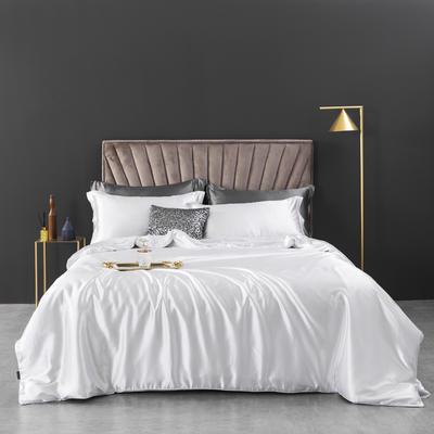 2021新款纯色水洗真丝四件套冰丝绣花四件套-浮光系列 1.8m圆角花边床单款四件套 浮光-月白