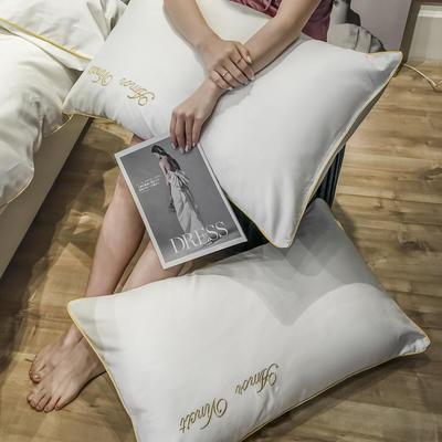 2020新款60长绒棉-单品枕套 48*74×2 赫啦-贵族白