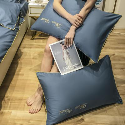 2020新款60长绒棉-单品枕套 48*74×2 赫啦-海洋蓝