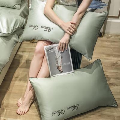2020新款60长绒棉-单品枕套 48*74×2 赫啦-抹茶绿