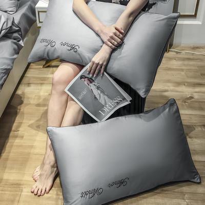 2020新款60长绒棉-单品枕套 48*74×2 赫啦-亦凡灰