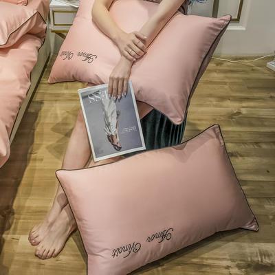 2020新款60长绒棉-单品枕套 48*74×2 赫啦-樱花粉
