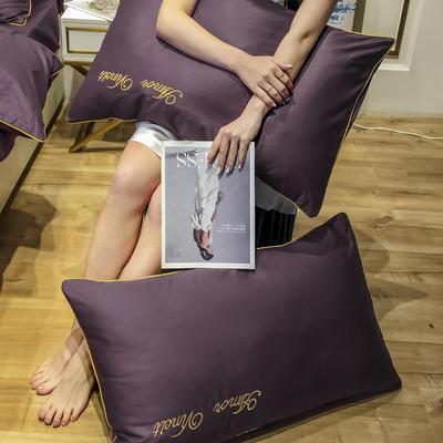 2020新款60长绒棉-单品枕套 48*74×2 赫啦-朱砂紫