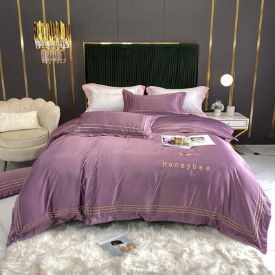2020新款全棉水洗真丝绣花四件套 1.8m床单款四件套 小蜜蜂-紫罗兰