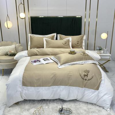 2020新款A版水洗真丝B版全棉四件套 1.5m床单款四件套 洛丽卡-香槟
