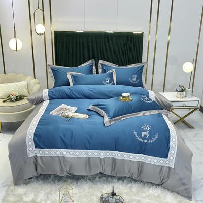 2020新款A版水洗真丝B版全棉四件套 1.5m床单款四件套 洛丽卡-银蓝