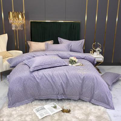 2020新款60支全棉高密提花四件套-默颜 1.8m床单款四件套 默颜-香妃紫