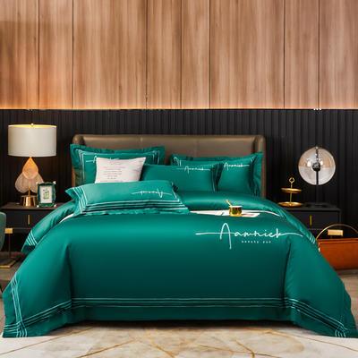2020新款60S长绒棉绣花四件套-琉璃 1.8m床单款四件套 琉璃-格调绿