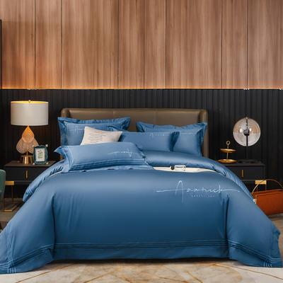 2020新款60S长绒棉绣花四件套-琉璃 1.8m床单款四件套 琉璃-臻至蓝