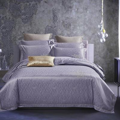 2021新款高密13372全棉60S提花四件套-默颜 1.8m床单款四件套 香妃紫