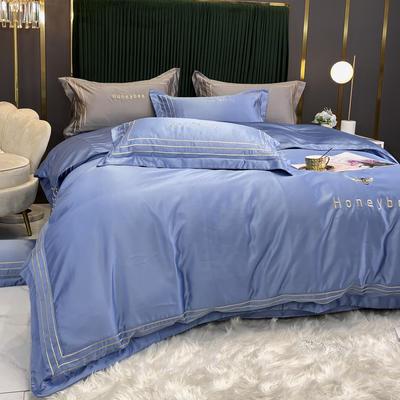 2021新款双面冰丝四件套 2.0M床单款 小蜜蜂-水蓝