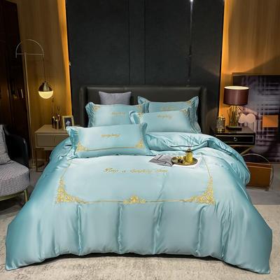 2021新款双面水洗真丝绣花四件套-莫琳系列 1.8m床单款四件套 莫琳-繁星绿