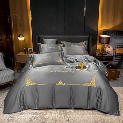 2021新款双面水洗真丝绣花四件套-莫琳系列 1.8m床单款四件套 莫琳-高级灰