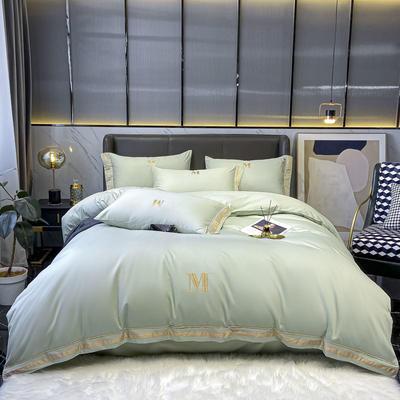 2021新款60S长绒棉绣花全棉四件套-寐系列 1.2m床单款三件套 寐-抹茶绿
