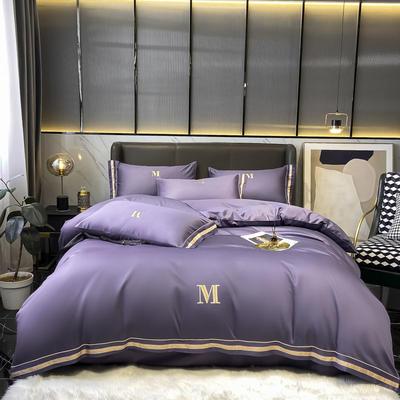 2021新款60S长绒棉绣花全棉四件套-寐系列 1.2m床单款三件套 寐-雅特紫
