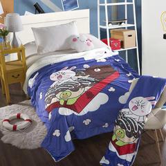 萌宝家纺-婴幼儿卡通双层盖毯水晶绒羊羔绒毛毯 115*155cm 开心吃货