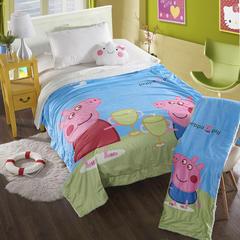 萌宝家纺-婴幼儿卡通双层盖毯水晶绒羊羔绒毛毯 115*155cm 小猪-蓝