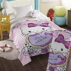 萌宝家纺-婴幼儿卡通双层盖毯水晶绒羊羔绒毛毯 150*200cm 爱心猫咪