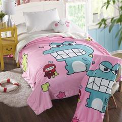 萌宝家纺-婴幼儿卡通双层盖毯水晶绒羊羔绒毛毯 150*200cm 小恐龙