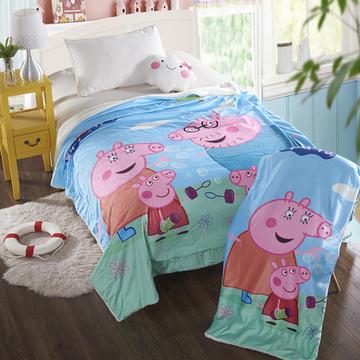 萌宝家纺-婴幼儿卡通双层盖毯水晶绒羊羔绒毛毯 150*200cm 小猪一家