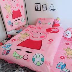 宝宝绒数码印花三件四件套 小号(1.35m床及以下)三件套 粉红小猪