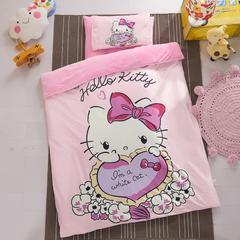 幼儿园保暖水晶绒三件套 小号1.2m床单款(被套·床单·枕套) 爱心猫咪