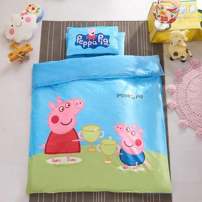 加厚保暖幼儿园被子三件套婴童6件套(水晶绒保暖系列) 棉花子母款(7件套) 小猪-蓝