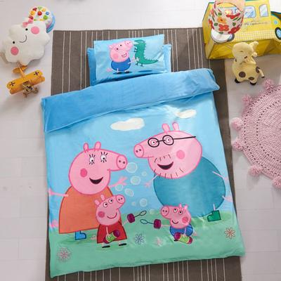 加厚保暖幼儿园被子三件套婴童6件套(水晶绒保暖系列) 水晶绒三件套(被套·床单·枕套) 小猪一家