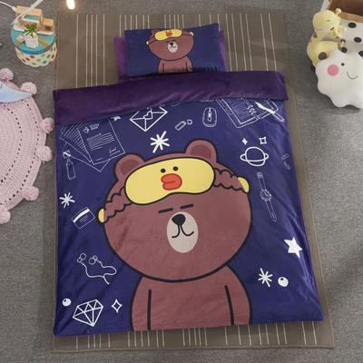 加厚保暖幼儿园被子三件套婴童6件套(水晶绒保暖系列) 棉花子母款(7件套) 布朗熊