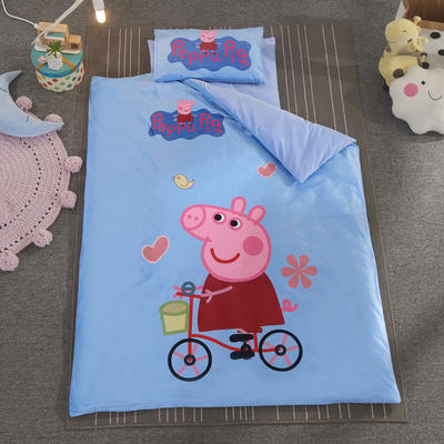 加厚保暖幼儿园被子三件套婴童6件套(水晶绒保暖系列) 棉花子母款(7件套) 单车小猪