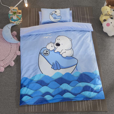 加厚保暖幼儿园被子三件套婴童6件套(水晶绒保暖系列) 珍珠棉枕芯 飘洋熊