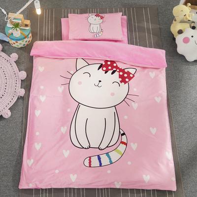 加厚保暖幼儿园被子三件套婴童6件套(水晶绒保暖系列) 棉花子母款(7件套) 微笑猫