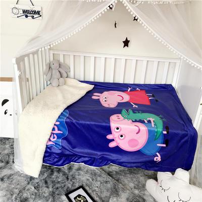 2018新款数码印花宝宝绒羊羔绒双层卡通毛毯 110*150cm 玩具小猪
