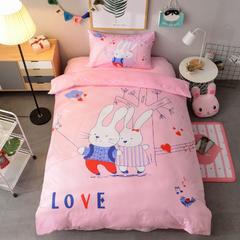 2018新款卡通保暖A棉B水晶绒三件套 1.2m(4英尺)床 爱情小兔