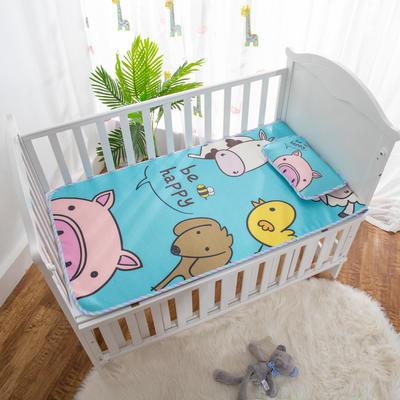 2019新款-幼儿园儿童凉席卡通冰丝席 冰丝小枕头(含荞麦壳)25*40cm 动物乐园